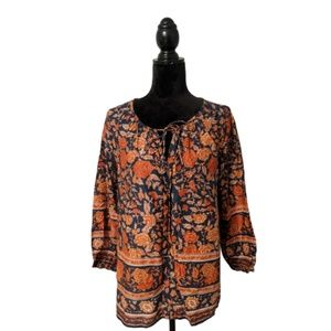 Lucky Brand Floral Print Boho Peasant Top